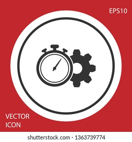 Grey Time Management icon isolated on red background. Clock and gear sign. Productivity symbol. White circle button. Vector Illustration