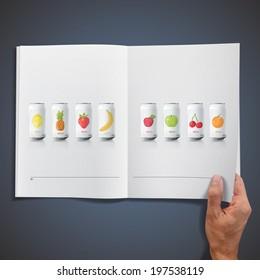Grey tin of fruit juice printed on book