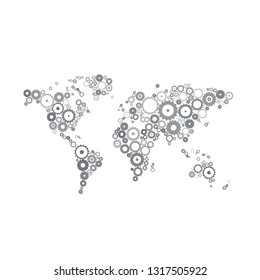 Grey toned machine world map made of gears vector illustration