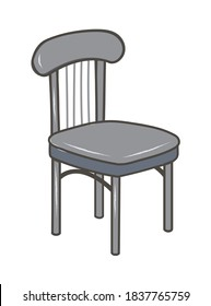 Grey traditional simple classic chair in vector illustration art