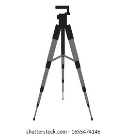 Grey tripod for photo, video camera. Vector stock illustration in flat style, can be used for poster,postcard.