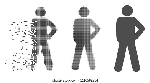 Grey vector audacity pose icon in fractured, pixelated halftone and undamaged whole variants. Disappearing effect involves rectangle particles.