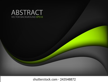 Grey vector background and green curve line on black space shadow overlap layer modern texture pattern for text and message website design