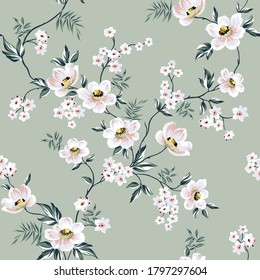 grey vector flowers with leaves pattern on green background