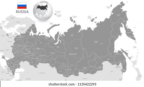 Grey Vector Map of Russia with Administrative borders, City and Region Names, international bordering countries and a 3D Globe centered on Russia
