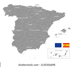 Grey Vector Map of spain with Administrative borders and City and Region Names
