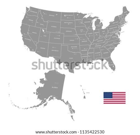 Grey Vector Map USA Administrative Borders Stock Vector ...