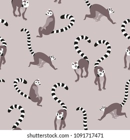 Grey vector ring tailed lemur seamless repeating pattern background. Perfect for fabrics, apparel, wallpaper, gift wrap, scrapbooking projects.