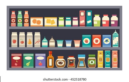 Grey vector shelves with products