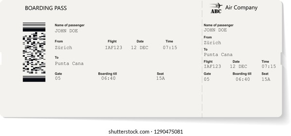 Grey vector template of boarding pass ticket. Concept of trip, journey or travel by plane.