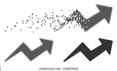 Grey vector trend up arrow icon in dissolved, dotted halftone and undamaged solid versions. Disintegration effect uses rectangle particles. Points are grouped into dispersed trend up arrow pictogram.