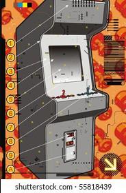 Grey video arcade machine on a red screw background.