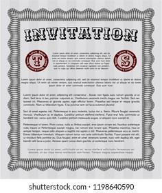 Grey Vintage invitation. Detailed. With complex linear background. Modern design.