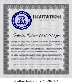 Grey Vintage invitation. With great quality guilloche pattern. Elegant design. Detailed.
