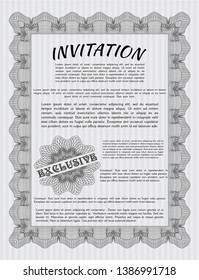 Grey Vintage invitation template. Customizable, Easy to edit and change colors. With guilloche pattern. Beauty design.