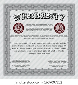 Grey Vintage Warranty Certificate template. With background. Vector illustration. Money style design.