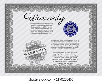 Grey Vintage Warranty template. Detailed. Easy to print. Artistry design.
