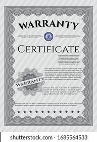 Grey Vintage Warranty template. Money style design. Detailed. Complex background.
