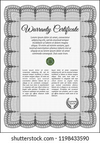 Grey Vintage Warranty template. Vector illustration. With complex linear background. Cordial design.