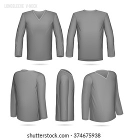 Grey V-Neck longsleeve 5 sides (front, back, 2/4 both left and right and side view)