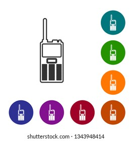 Grey Walkie talkie line icon isolated on white background. Portable radio transmitter icon. Radio transceiver sign. Vector Illustration