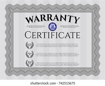 Grey Warranty Certificate template. With background. Customizable, Easy to edit and change colors. Artistry design.