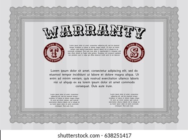 Grey Warranty template. Cordial design. With great quality guilloche pattern. Customizable, Easy to edit and change colors.