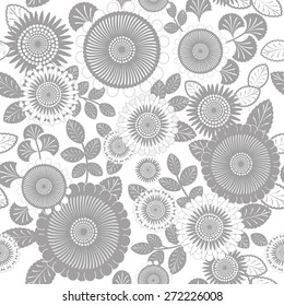 Grey and White Abstract Flower Pattern
