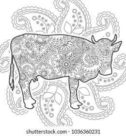 grey and white Adult coloring book,doodle page a cow with ornamental background for relaxing. Zen art style illustration.