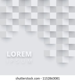Grey and white background with abstract checkered pattern. Creative solution for invitation, card, presentation or booklet design. Blank template. Vector paper illustration.