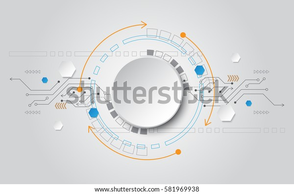 grey white Circle abstract technology background with various element