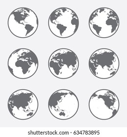 Grey and White, flat vector world globe set with outline. Grey land mass and white water.