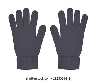 Grey winter gloves. vector illustration