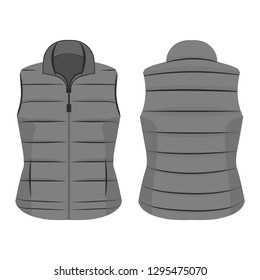 grey winter zipped vest isolated vector on the white background