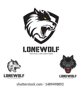 Grey Wolf head  theme. logo set. vector