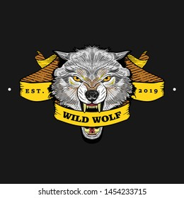 grey wolf logo, emblems or badges with wild animals and banners or ribbons in vintage, retro old style, hand drawn engraving