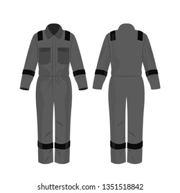 Grey work overalls with safety band isolated vector on the white background