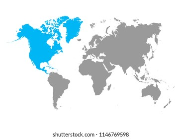 Grey world map. North america blue color