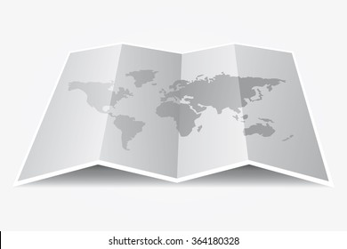 Grey world map on folded paper. Vector Illustration.