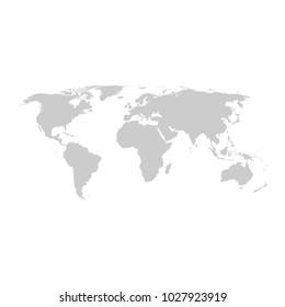 Grey world map vector flat design
