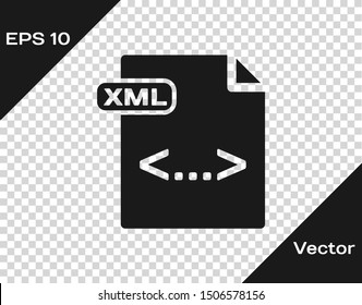 Grey XML file document. Download xml button icon isolated on transparent background. XML file symbol.  Vector Illustration
