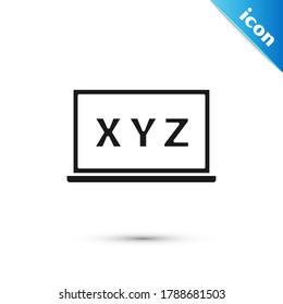 Grey XYZ Coordinate system on chalkboard icon isolated on white background. XYZ axis for graph statistics display.  Vector