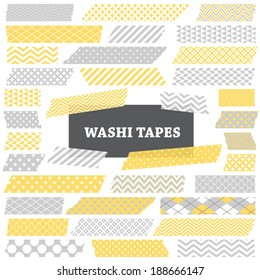 Grey, Yellow and White Washi Tape Strips with Torn Edges and Different Patterns. Semitransparent. Photo Frame Border, Web Blog Layout Element, Clip Art, Scrapbook Embellishment. Global colors used.