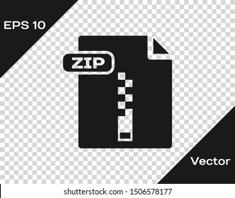 Grey ZIP file document. Download zip button icon isolated on transparent background. ZIP file symbol.  Vector Illustration