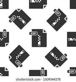 Grey ZIP file document. Download zip button icon isolated seamless pattern on white background. ZIP file symbol.  Vector Illustration