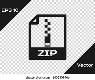 Grey ZIP file document icon. Download zip button icon isolated on transparent background. ZIP file symbol. Vector Illustration