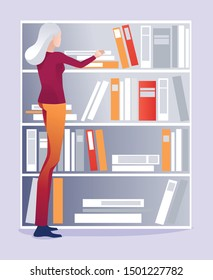 Grey-Haired Aged Female Librarian Puts Books on Shelf in Order Cartoon. Woman Chooses Paper Editorial to Read. Flat Bookshelves with Archive in Library or Bookstore Assortment. Vector Illustration