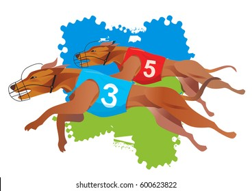Greyhound Dogs Racing. Stylized illustration of a greyhound dogs racing. Isolated on a white background. Vector available.