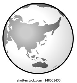 A greyscale globe showing East Asia, South Asia, and Australasia.