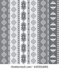 Greyscale Southwestern Stripped Repeating Pattern Composed of Triangle Shapes